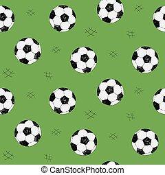 サッカー, スタイル, ボール, sketch., elements., パターン, seamless, 網, 手, バックグラウンド。, ベクトル, 緑, コレクション, 引かれる, スポーツ, 背景