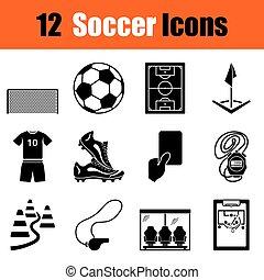 サッカー, セット, アイコン