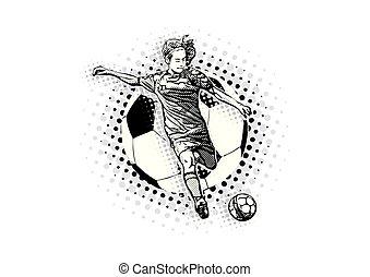 サッカー, ベクトル, イラスト, 女性