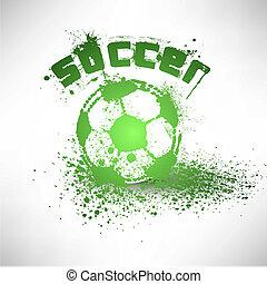 サッカー, ベクトル, グランジ, ボール