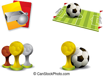 サッカー, ベクトル, セット, アイコン