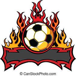 サッカー, ベクトル, テンプレート, 炎