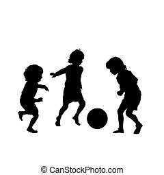 サッカー, ベクトル, 子供