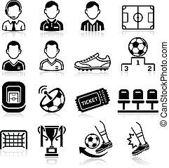 サッカー, ベクトル, icons., イラスト