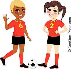 サッカー, 女の子, ティーネージャー