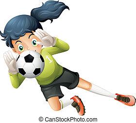 サッカー, 女の子, ボール, つかまえること