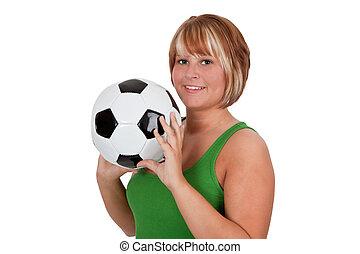 サッカー, 女, 若い, ボール, 保有物