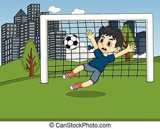 サッカー, 子供, 公園, 遊び
