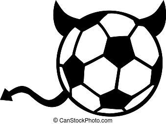 サッカー, 尾, 悪魔, ボール, 角