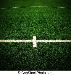 サッカー, 屋外, フットボール, ライン, 細部, プラスチック, finely, 交差させる, rubber., playground., field., 白, 草, 地面