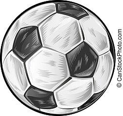 サッカー, 白いボール, 隔離された, 背景