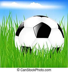 サッカー, 草, ボール, クラシック
