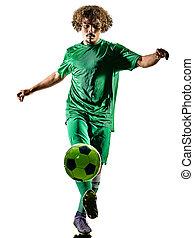 サッカー, 隔離された, 若い, プレーヤー, 人, ティーネージャー, シルエット