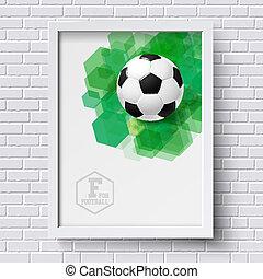 サッカー, poster., 壁, 抽象的, 白, イメージ, れんが, foo, フレーム