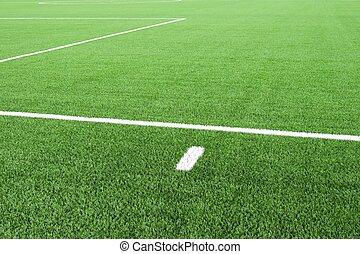 サッカー, rubber., フットボール, ライン, 細部, プラスチック, finely, field., playground., 黒, 白, 草, 地面