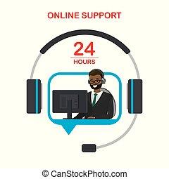 サポート, オンラインで, サービス, 顧客, 概念