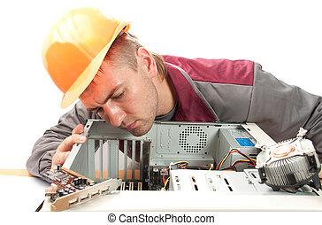 サポート, コンピュータ, エンジニア