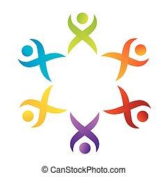 サポート, チームワーク, ロゴ