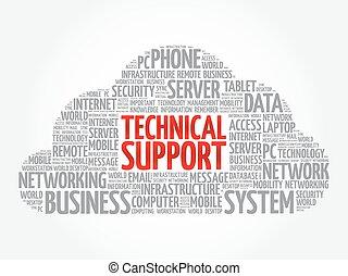 サポート, テクニカル, 単語, 雲