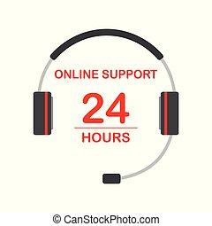 サポート, ヘッドホン, テキスト, サービス, 概念, オンラインで
