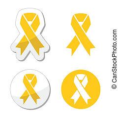 サポート, リボン, -, 軍隊, 黄色