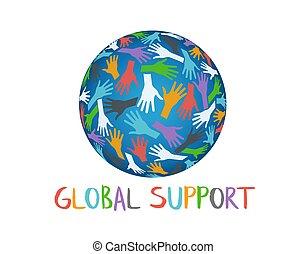 サポート, 世界的である, 人々, 手, 助力
