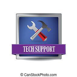 サポート, 技術, ボタン, イラスト
