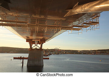 サポート, 日没, 橋, ちらちら光る