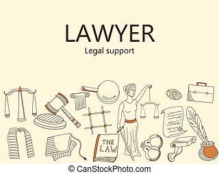 サポート, 法的, ベクトル, イラスト, lawyer., 旗