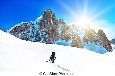 サミット, 登山家, 手を伸ばす