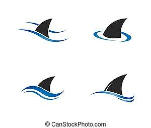 サメ, イラスト, ベクトル, テンプレート, ロゴ, ひれ, アイコン
