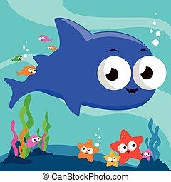 サメ, イラスト, ベクトル, sea., 下に, 水泳