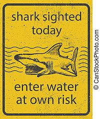 サメ, グランジ, 印, 攻撃, ベクトル, eps8, 警告