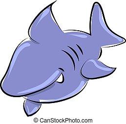 サメ, ベクトル, バックグラウンド。, 青, イラスト, 白
