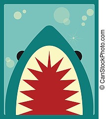 サメ, ベクトル, ポスター, イラスト