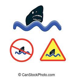 サメ, ベクトル, 海, アイコン