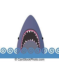 サメ, ベクトル, 海, イラスト