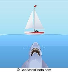 サメ, ヨット, 空腹, 海洋, 攻撃, water., 船