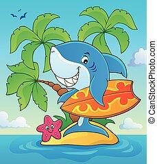 サメ, 主題, 3, イメージ, サーファー