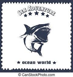 サメ, 型, 手, 引かれる, lettering., カード