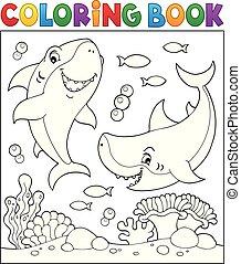 サメ, 水中, 1, 着色 本
