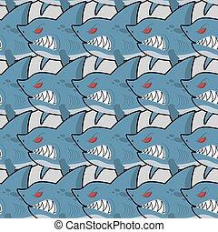 サメ, 海, fish, pattern., seamless, 悪, 空腹, 背景, 目, texture., 赤
