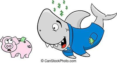 サメ, 財政, 小豚, 微笑, 怖がらせられた, 銀行