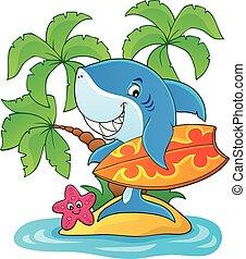 サメ2, 主題, イメージ, サーファー