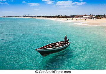 サラソウジュ, -, 伝統的である, マリア, ボート, 島, cabo, 漁師, santa, カボベルデ