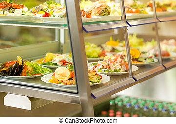 サラダ, サービス, 食物, 自己, 新たに, カフェテリア, ディスプレイ