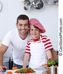 サラダ, 息子, 料理, 父