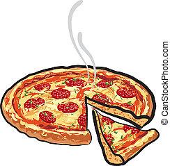 サラミ, ピザ