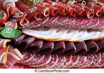 サラミ, 各種組み合わせ, 寒い, 肉