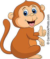 サル, かわいい, 漫画, の上, 親指